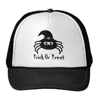 Truco o invitación lindo de la araña de Halloween  Gorro De Camionero