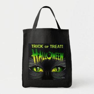 Truco o invitación misterioso de Halloween del gat Bolsa Tela Para La Compra