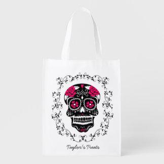 Truco o invitación personalizado del cráneo del bolsa para la compra