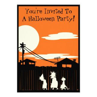 Truco-o-Treaters invitación del fiesta de Hallowee