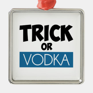Truco o vodka adorno navideño cuadrado de metal