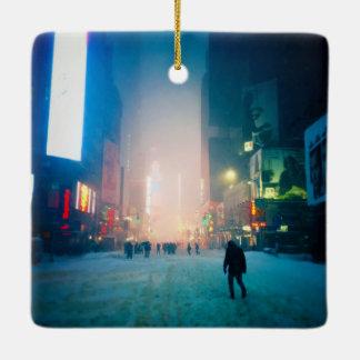 Trudging Through The Snow In Times Square Ceramic Ornament