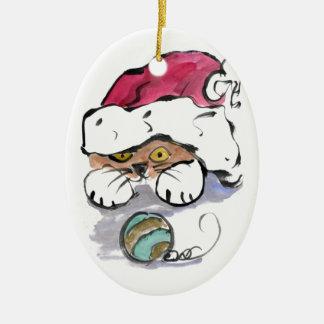 Trudy está ocultando en el gorra de Santa Adorno De Navidad