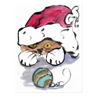 Trudy está ocultando en el gorra de Santa Tarjeta Postal