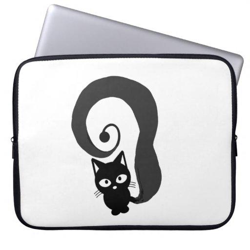 Trudy Meow Black Cat Skin Laptop Laptop Sleeve