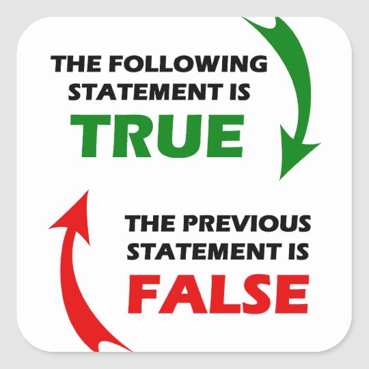 True and False Statements Square Sticker
