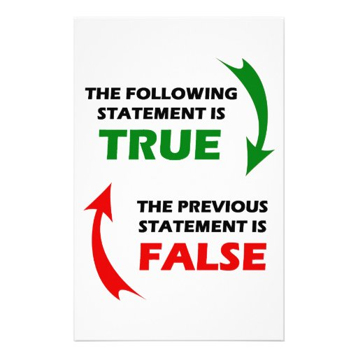 True and False Statements Stationery Paper