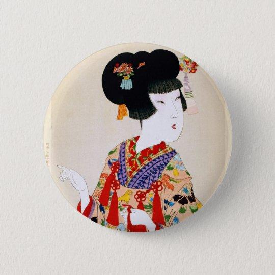 True Beauty Vintage Japanese Print Button