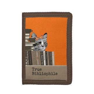 True Bibliophile - Cat with Books Tri-fold Wallet