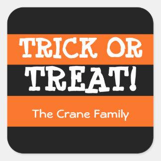 True black orange stripes trick or treat Halloween Square Sticker