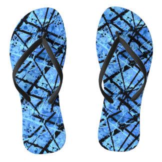 TRUE BLUE (abstract art) ~.jpg Flip Flops
