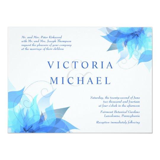True Blue Formal Wedding Invitations