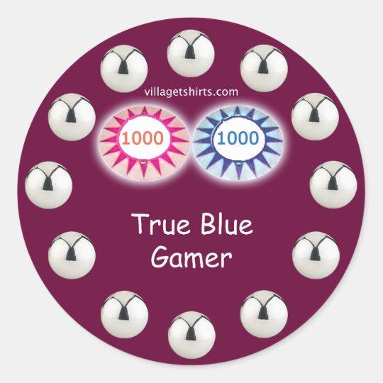True Blue Gamer Pinball Classic Round Sticker