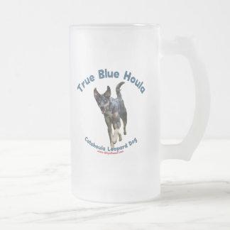 True Blue Houla Catahoula Dog 16 Oz Frosted Glass Beer Mug