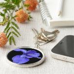 True Blue Iris Silver-Colored Round Keychain