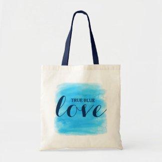 True Blue Love Text Design Budget Tote Bag