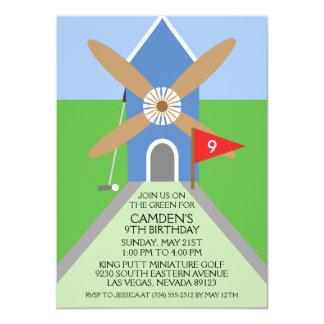 True Blue Miniature Golf Windmill Birthday Party Card
