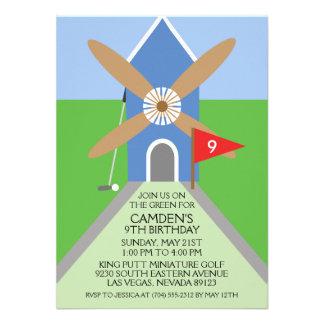 True Blue Miniature Golf Windmill Birthday Party Personalized Invite