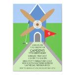 True Blue Miniature Golf Windmill Birthday Party 4.5x6.25 Paper Invitation Card