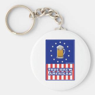 True Brew American Basic Round Button Keychain