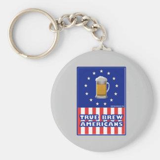 True Brew Americans Basic Round Button Keychain