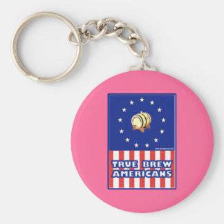 True Brew Wine Americans Basic Round Button Keychain
