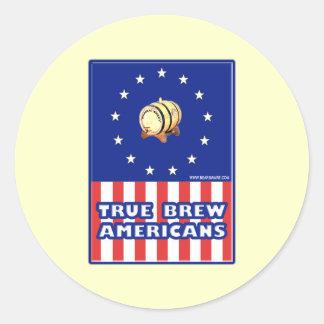 True Brew Wine Americans Round Sticker