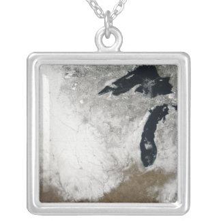 True-color image of snow square pendant necklace