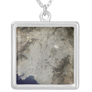 True-color satellite view of central Athens Silver Plated Necklace