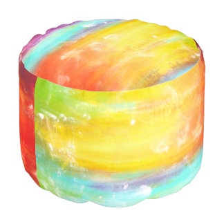 True Colors Abstract Art Round Pouf