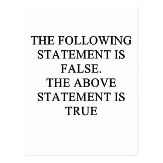 true false logic proverb postcard