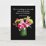 "True Friend Happy Birthday, Stargazer Lily Bouquet Card<br><div class=""desc"">This card features a bouquet of stargazer lilies,  roses,  chrysanthemum and carnations.</div>"