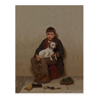 True Friends 1900 ~ Shoe Shine Boy 1900 Postcard