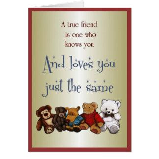 True Friendship: Row of Stuffed Animals: Art Card