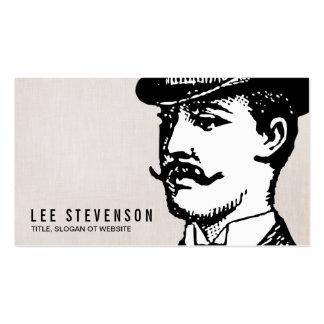 True Gentleman Card Vintage Hipster Linen Look Business Card
