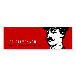 True Gentleman Card Vintage Hipster Red and Black Mini Business Card