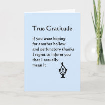 True Gratitude - a funny thank you poem