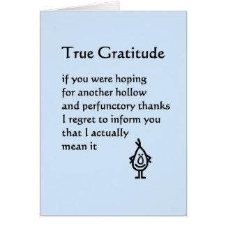 True Gratitude - a funny thank you poem Card