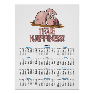 true happiness cute pig in mud cartoon poster