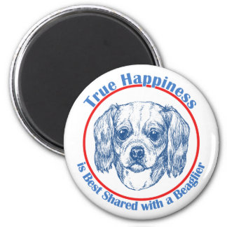 True Happiness with a Beaglier 2 Inch Round Magnet