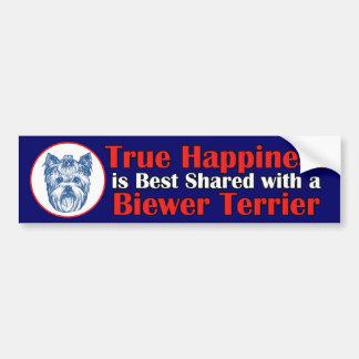 True Happiness with a Biewer Terrier Bumper Sticker