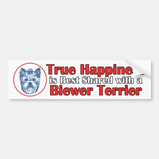 True Happiness with a Biewer Terrier Bumper Stickers