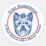 True Happiness with a Biewer Terrier Round Sticker
