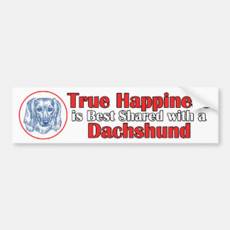 True Happiness with a Dachshund (Longhair) Bumper Sticker