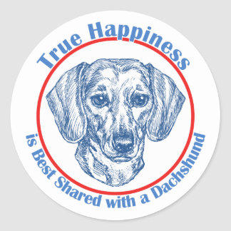 True Happiness with a Dachshund (Shorthair) Classic Round Sticker