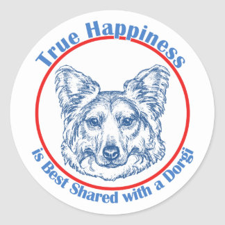 True Happiness with a Dorgi (longhair) Classic Round Sticker