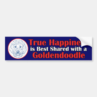 True Happiness with a Goldendoodle Bumper Sticker