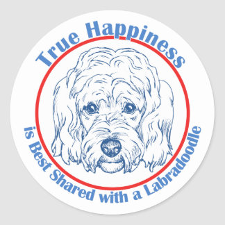 True Happiness with a Labradoodle Classic Round Sticker