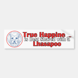 True Happiness with a Lhasapoo Bumper Sticker