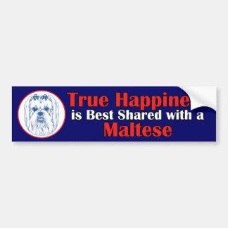 True Happiness with a Maltese Bumper Sticker
